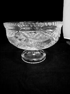 Vintage Heavy Cut Glass Lead Crystal Fruit / Centre Piece Bowl 1.4kg (D3)