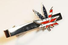 420 USA Flag Marijuana Pot Cannibis Weed Vape Medical Legalize Vote Tie Bar Clip