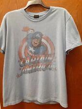 marvel legends vintage captain america large shirt blue tee