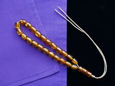 Clear Crystal Natural Honey Amber Prayer Beads (23) Mala With Golden Flowering