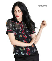 Hell Bunny Shirt Top Black LOVEBIRD Blouse Retro Vintage Flowers All Sizes