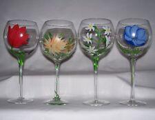 Hand Painted Premium Glassware Floral Design (Set of 4) 16 U.S. Fl Oz (0.47L)