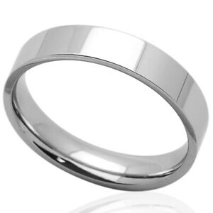 Men Fashion 5MM Comfort Fit Stainless Steel Wedding Band Classic Flat Ring