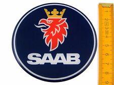 SAAB ★ 4 Stück ★ SILIKON Ø90mm Aufkleber Emblem Felgenaufkleber Radkappen