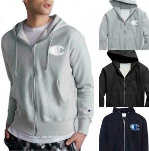 Champion Life Men's Reverse Weave Full-Zip Hoodie, Mesh & Leather C Logo