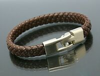 Men Women/'s Unisex Leather Bracelet Brass Clasp Brown SAME DAY SHIPPING!!!