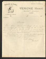 """MURAT (15) TOILES & LINGE DE TABLE """"Henri VERGNE"""" en 1920 / FILEUSE au ROUET"""