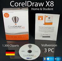 Corel Draw X8 Home & Student 3 PC Vollversion Box + DVD, Trainingsvideos OVP NEU
