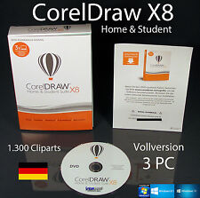 Corel Draw X8 Home & Student 3 PC Vollversion Box + DVD, Trainingsvideos OVP NEU