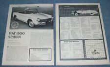 1965 Vintage Fiat 1500 Spider Road Test Info Article