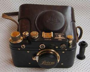 Leica III Olympia 1936 copy black-gold in leather case (Zorki copy)