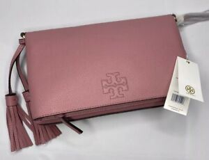 NWT TORY BURCH THEA PINK PEBBLE LEATHER FOLDOVER WOMEN'S CROSSBODY BAG $495
