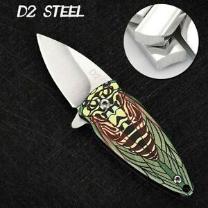 Spear Point Folding Knife Pocket Flipper Hunting Wild Survival Tactical D2 Blade