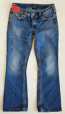 EUC Womens Silver Brand SUKI Med. Blue Boot Cut Jeans Size W29 L30 Factory Faded