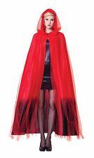 WOMEN'S HOODED RED CAPE OMBRE #FINISH HALLOWEEN FANCY DRESS COSTUME