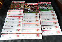 Full Set of 19 2011/12 Barclays Premier League Arsenal Home Match Programmes