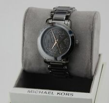 NEW AUTHENTIC MICHAEL KORS RUNWAY GUNMETAL PAVE CRYSTALS WOMEN'S MK3543 WATCH