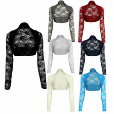 Ladies Stretchy Lace Cropped Bolero Shrug Womens sheer Party Open Top Size 8-22
