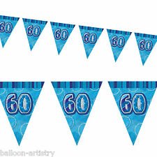 9ft BLUE Glitz 60th Birthday Pennant Flag Banner Bunting Decoration