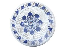 """15"""" Round Marble Table Top Lapis Floral Grill Decorative Gifts For Father W017"""