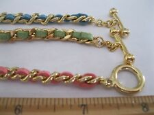 3 Gold plate womans link bracelets w leather weave. 8 inches/toggle
