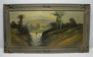 Antique 19th C Hudson River School Oil on Board Painting Mountain Waterfalls yqz