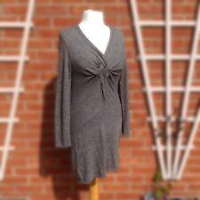 Phase Eight Cashmere & Angora Jumper Dress Grey Twist Knot Front V-Neck UK14