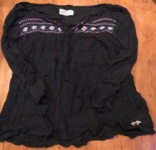 Nice Women's Hollister Boho Navy Blue Shirt Embroidery size XS