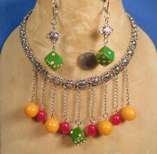 Viva Las Vegas Upcycled Genuine 40's BAKELITE DICE & BEADS Necklace & Earrings