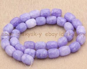 9x11mm Natural Lavender Jade Gemstone Barrel Cylinder Loose Beads 15'' Strand