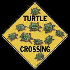 "TURTLE Crossing Sign, 12"" on sides, 16"" on diagonal, Indoor/Outdoor, Aluminum"