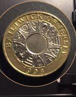 £2 Pound Coin 1998 Jersey Parishes : Mint Error Writing Upside Down •••