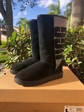 UGG Australia 1096471 Classic Tall Rubber UGG Logo Black Boots Size US 7/EU38