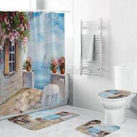 4X Print Waterproof Bathroom Shower Curtain Bath Toilet Cover Mat W/ 12 Hooks