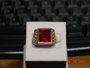 10K YELLOW GOLD MEN'S RUBY RED SPINEL RING SIZE 10.5 GRAMS 9.1