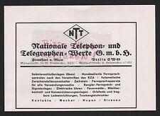 Frankfurt/M. berlín, publicidad 1935, nacional teléfono-telégrafo-Werke GmbH