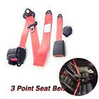 Adjustable Retractable Red Car Seat Belt Lap Belt 3Point Safety Strap 26700N Kit