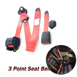 Adjustable Retractable Red Car Seat Belt Lap Belt 3Point Safety Strap 26700N Kit