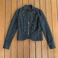 Martini Size 10 Black Military Style Jacket Wool Blend Short Lined Cocktail
