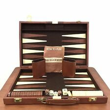 Vtg 90s Backgammon Game Set Faux Brown Leather Case With Dice Shakers & Checkers