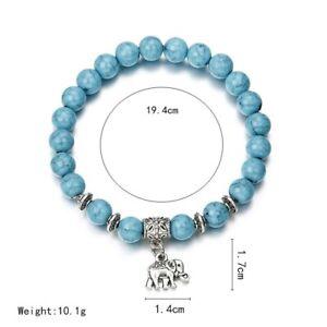 Beaded turquoise elephant bracelet.(lucky bracelet)stretch,birthday gift,beads.