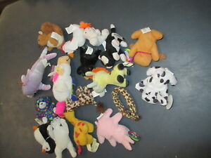 LOT x 16 Plush Toy Animals Mixed Types Sizes Brands As Shown