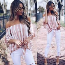 Beach Women's Clothing Half Sleeve Striped Tops Sexy T-shirt Chiffon Blouse