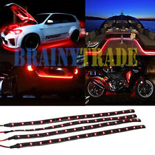 4pcs 30cm Waterproof 15 Red LED Car Truck Motor boat Flexible Strip Lights 12V