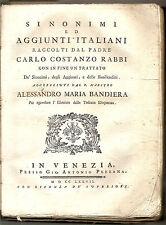 1777 (Venezia-Pezzana) SINONIMI E AGGIUNTI SECONDO RABBI – BANDIERA