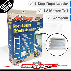 5-STEP Folding ROPE LADDER Boat Marine Yacht UV PVC Boarding