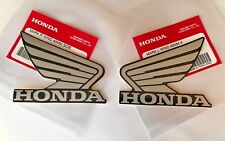 Honda Wing Fuel Tank Decal Wings Sticker 2 x 80mm METALLIC SILVER & BLACK