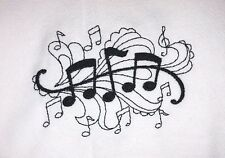 MUSIC PATTERN EMBROIDERED FLOUR SACK DISH TOWEL