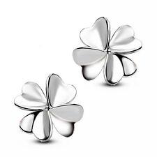 Women Jewelry Elegant 925 Sterling Silver Crystal Ear Stud Earrings Lucky Flower