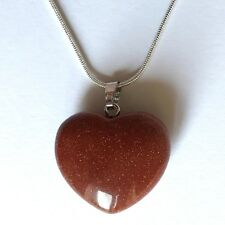"Red Goldstone Crystal Heart Pendant 25mm with 20"" Silver Necklace Luck Magical"